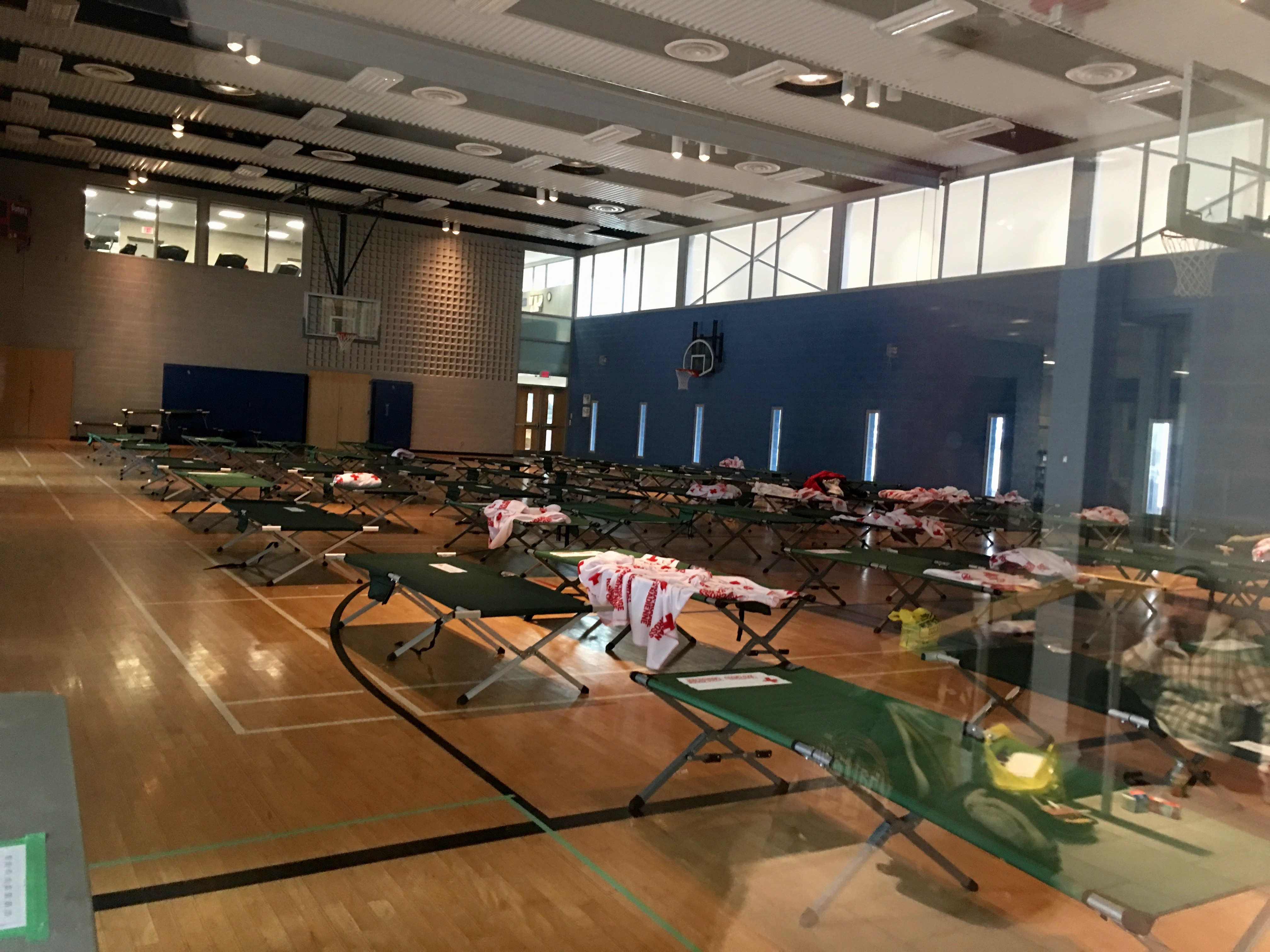 1:30 p.m. Feb. 10, 2017. Emergency cots set up in the gymnasium at Wellesley Community Centre for those displaced by the fire at a Toronto Community Housing building at 291 George St. Approximately 40 men slept on cots at the Wellesley Community Centre. At time of publication, it was not known when the residents of 291 George St. would be able to go home.