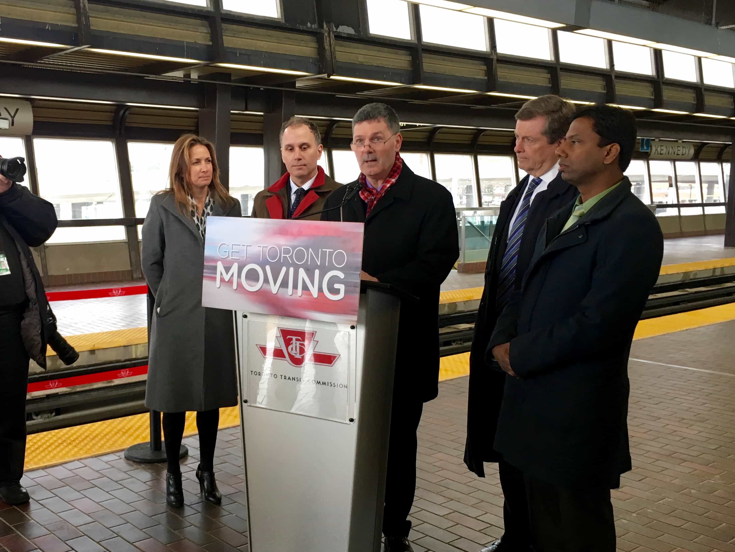 """10:14 a.m. Feb. 28, 2017. """"Scarborough councillors, every MPP, every MP… 19 out of 20 elected people representing the city of Scarborough support the Scarborough subway… I'm thrilled to be reading over this report today, to make sure that as we move forward we make very good decisions on behalf of the people of Scarborough and all of Toronto,"""" Councillor Glenn De Baeremaeker said, going on to compare Scarborough to North York. """"You can see an area with virtually the same population, the same geographic area, but the dramatic difference in the level of service. I'm pleased to see with this report that as we move forward, Scarborough's going to get the investment that it needs to make it an equal member of the family in the City of Toronto."""""""