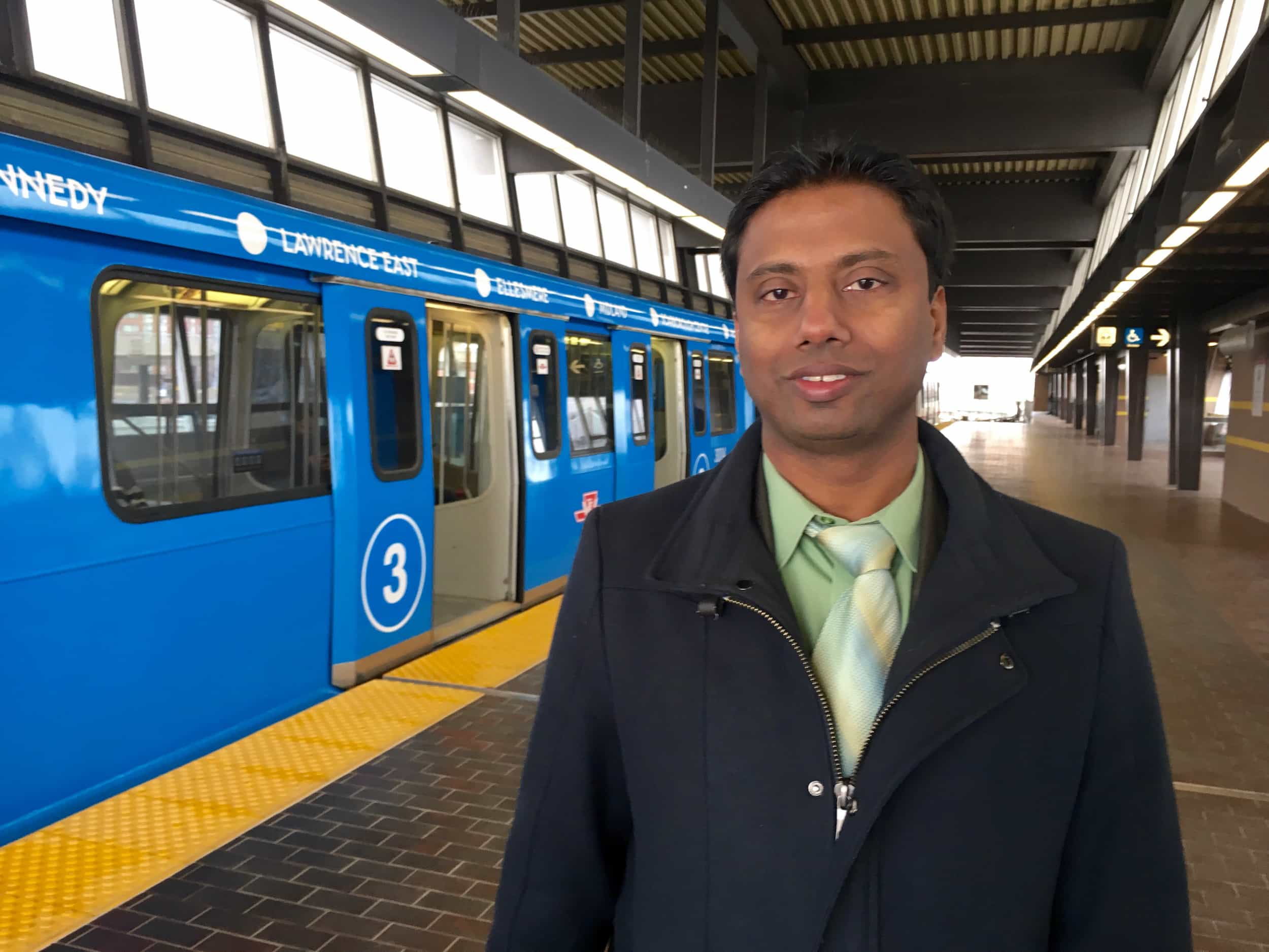 """10:48 a.m. Feb. 28, 2017. """"People in Scarborough support the subway, but the advocacy voice isn't there because these people have to work many jobs,"""" Councillor Neethan Shan told Signal Toronto at Kennedy station following an announcement about the latest report on the Scarborough subway. """"[The reason] you don't see [support] is people who would be positively impacted [by the Scarborough subway] coming out and speaking at these town halls and forums is because they don't have the time, the resources and means to. That's why people of colour, people of racialized voices, people of low income communities – it's important to be heard, because this subway is going to be an economic boost for many of us in those communities."""""""