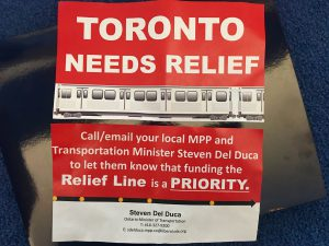 Flyers handed out by Mayor John Tory at Pape Station on Wednesday morning, at a press conference before council.
