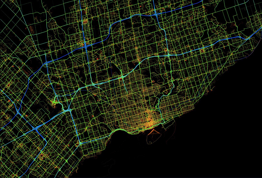 """An image from the Here website, the company contracted by The City of Toronto to provide traffic-flow data to the city. The data will not be made available to technology companies who want to develop their own applications. """"We can't give it to private sector partners or to other levels of government, because it is commercial data and there is a business model that these folks are trying to maintain,"""" explained Gregg Loane, manager for ITS Capital Delivery in Transportation Services. """"We have to be careful and we have respect the agreement that we have with Here, but we will be able to offer it to our colleagues in other divisions within the city."""" The TTC will have access."""