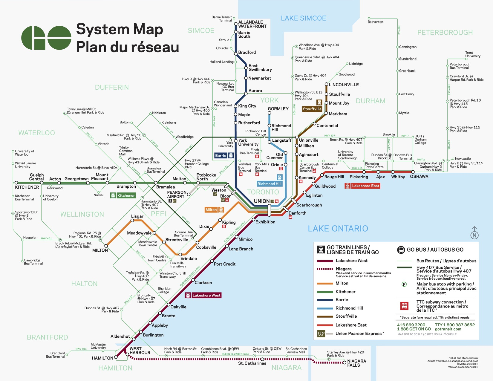 System map from GO transit's website