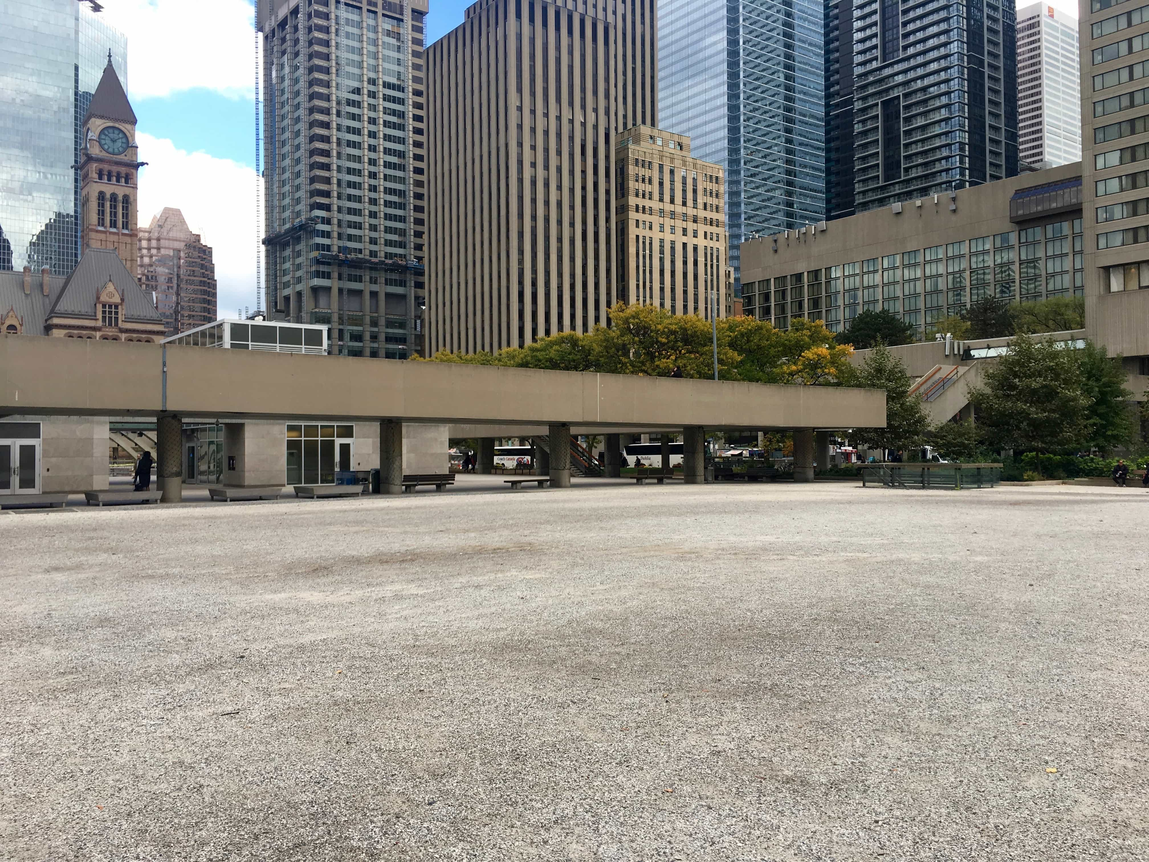1:52 p.m. Oct. 26, 2017 The south-west corner of Nathan Phillips Square.