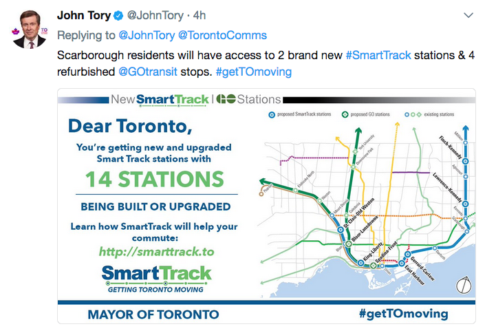 Image of tweet from Mayor John Tory's account on Tuesday evening.