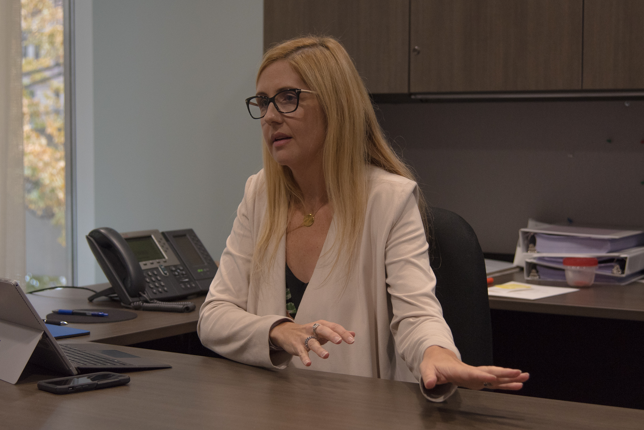 "1:37 p.m., Nov. 15, 2017. In her office, Carmichael Greb discusses what's important to her at council. ""For me, one of the issues that I always get called out on is voting to have private trees cut down. I believe that it is in private property values. If you have a tree on your property, you should be allowed to take it down."" (Photo credit: Luke Trohimchuk)"