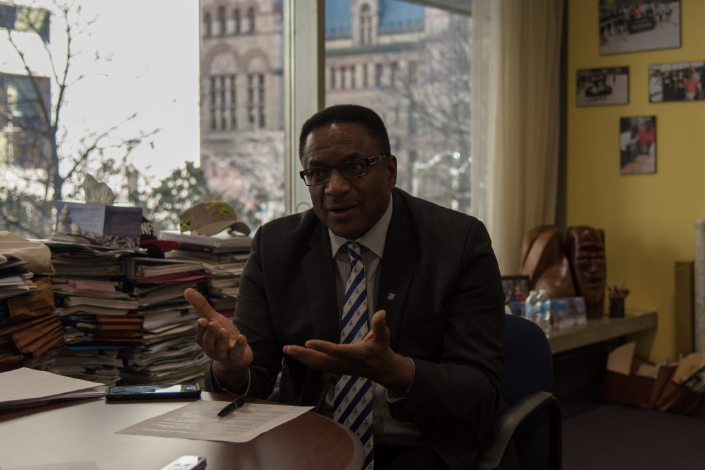 "1:16 pm Nov 29, 2017. Councillor Michael Thompson in his office. On racism in Toronto, he says, ""There is the need for more people who are part of the challenges to be part of the solution, collaborating and working with everyone else."" (Luke Trohimchuk/Signal Toronto)"