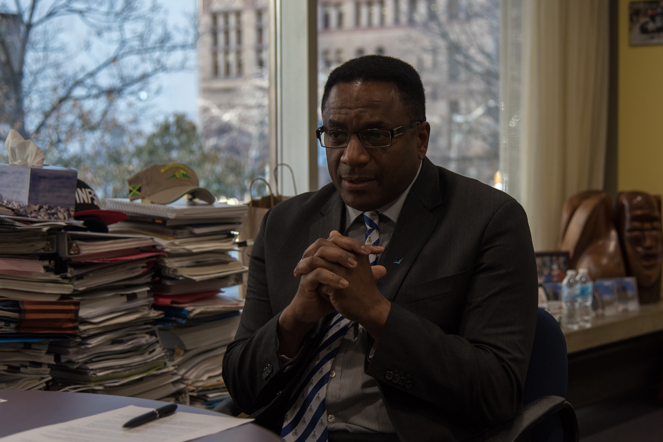 "1:36 p.m. Nov 29, 2017. Michael Thompson in his office. On the idea of running for mayor one day, he says, ""The answer is yes – the truthful answer. And who knows, the future is in front of us, right?"" (Luke Trohimchuk/Signal Toronto)"
