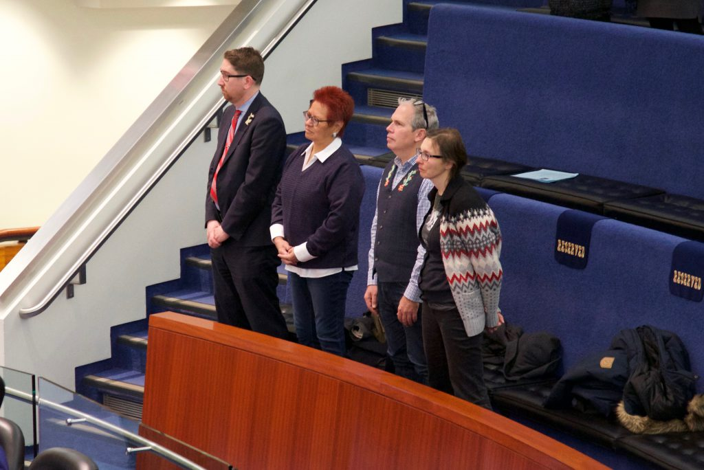 2:20 p.m., Dec. 6, 2017. Watching the drum ceremony in the public gallery in council chambers: (from left to right) Jeffrey Schiffer, Aboriginal consultant; Andrea Chrisjohn, Toronto Council Fire Native Cultural Centre; Todd Ross, former special advisor on Tripartite for the Métis Nation of Ontario and member of the Aboriginal Advisory Committee; and Crystal Basi, Toronto Aboriginal Support Services Council.