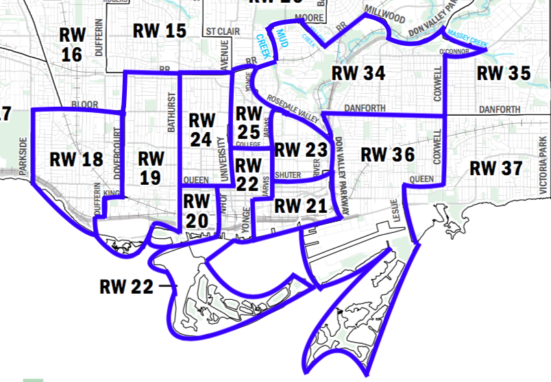 A map showing the new ward boundaries for the 2018 election for ten downtown wards.