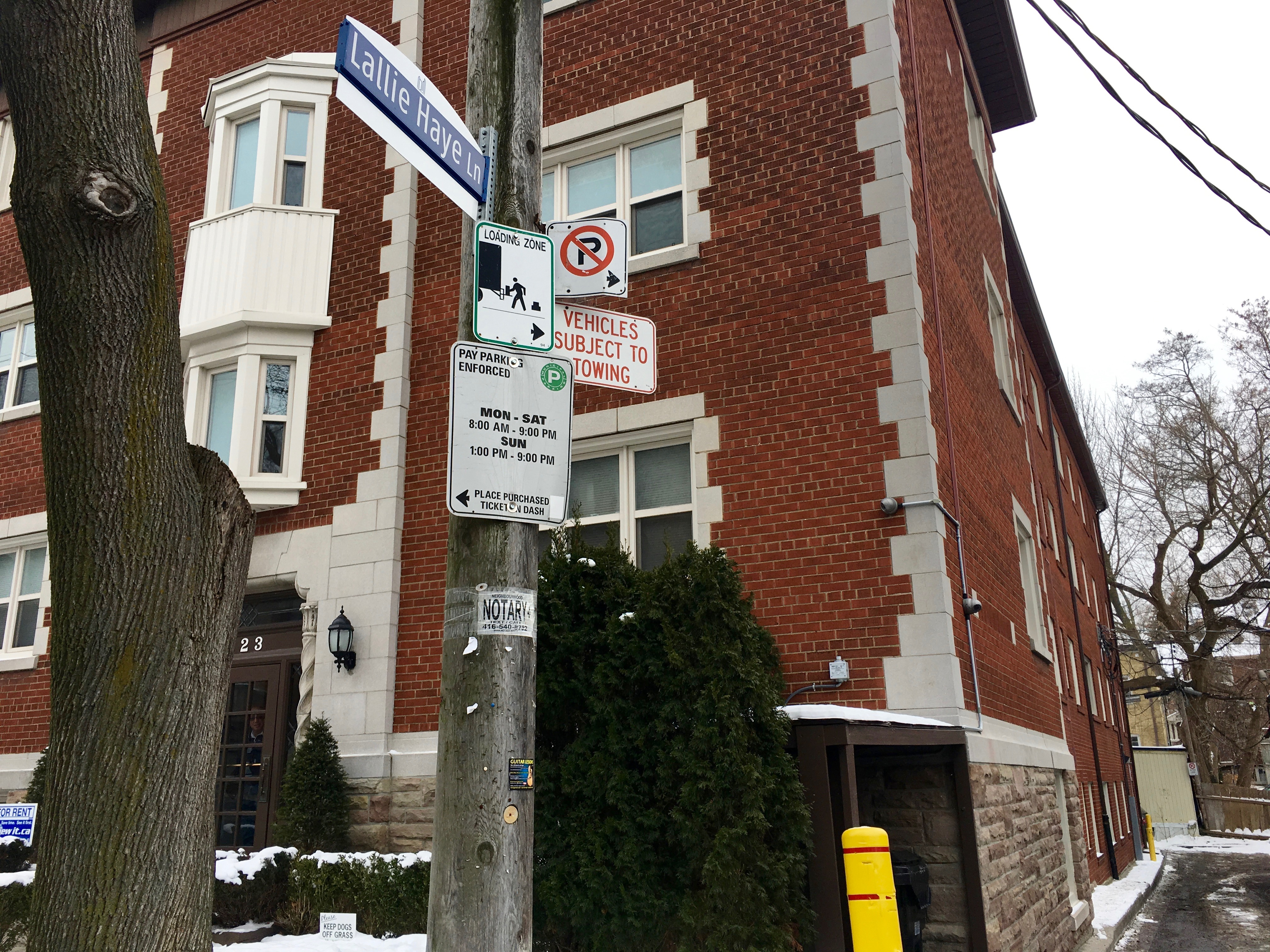 10:59 a.m., Jan. 18, 2018. Lallie Haye Lane was named in 2015 after Lallie Haye, in honour of her long history of work in the neighbourhood.