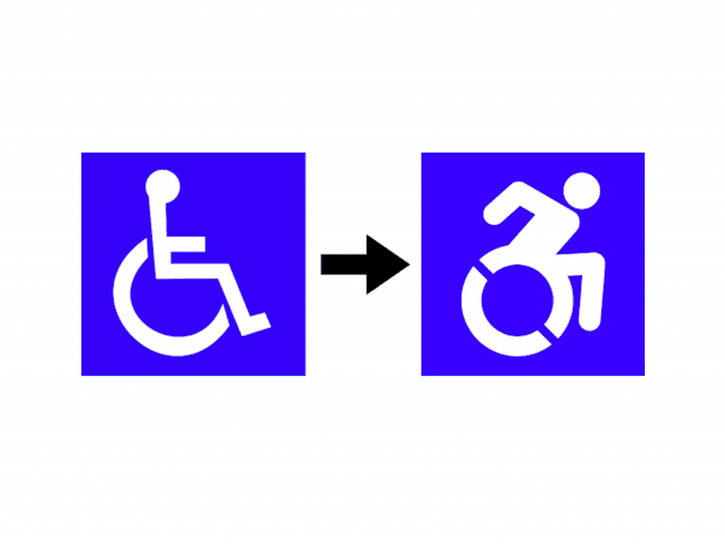 The International Symbol of Access (left) and the new Dynamic Symbol of Access (right).