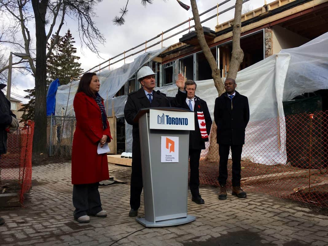 10:01 a.m., Feb. 26, 2018. From left, Deputy Mayor and the city's housing advocate and Councillor Ana Bailão, Councillor Glenn De Baeremaeker, Mayor John Tory, and board member of Toronto Community Housing and senior vice president of strategy and growth at Greystone Managed Investments Colin Lynch appear at a Scarborough Toronto Community Housing complex on Monday morning.