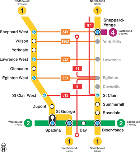 Map of TTC increased bus service in midtown while subway is closed on Saturday, Feb. 24, 2018.
