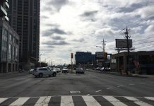 11:28 a.m., March 2, 2018. Traffic to and from Highway 401, facing south on Yonge Street.
