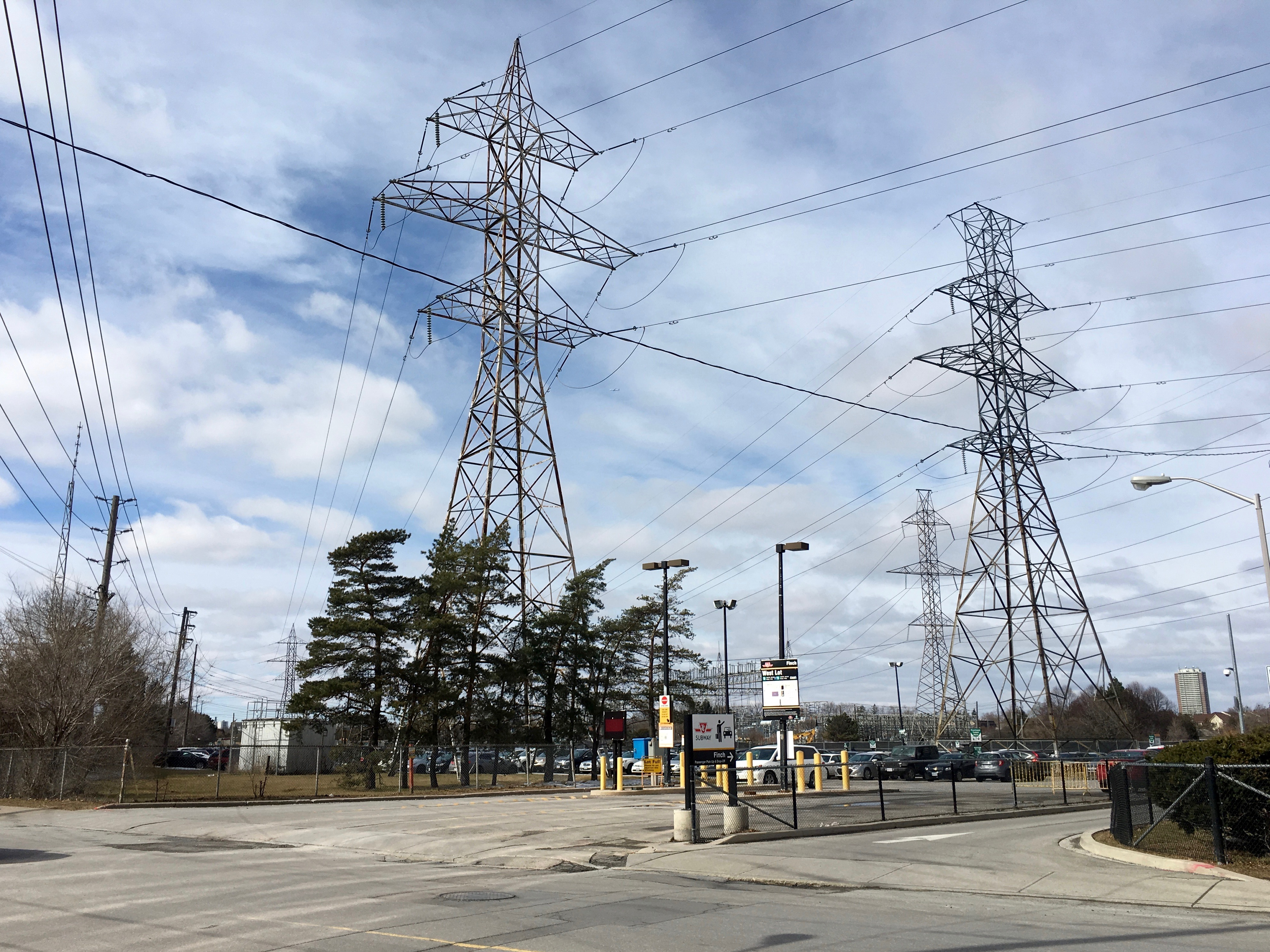 1:14 p.m. March 2, 2018. Hydro poles on Hendon Avenue, west of Yonge Street. This area, just north of Finch Avenue, is the northern boundary of the area being studied for bike lanes.
