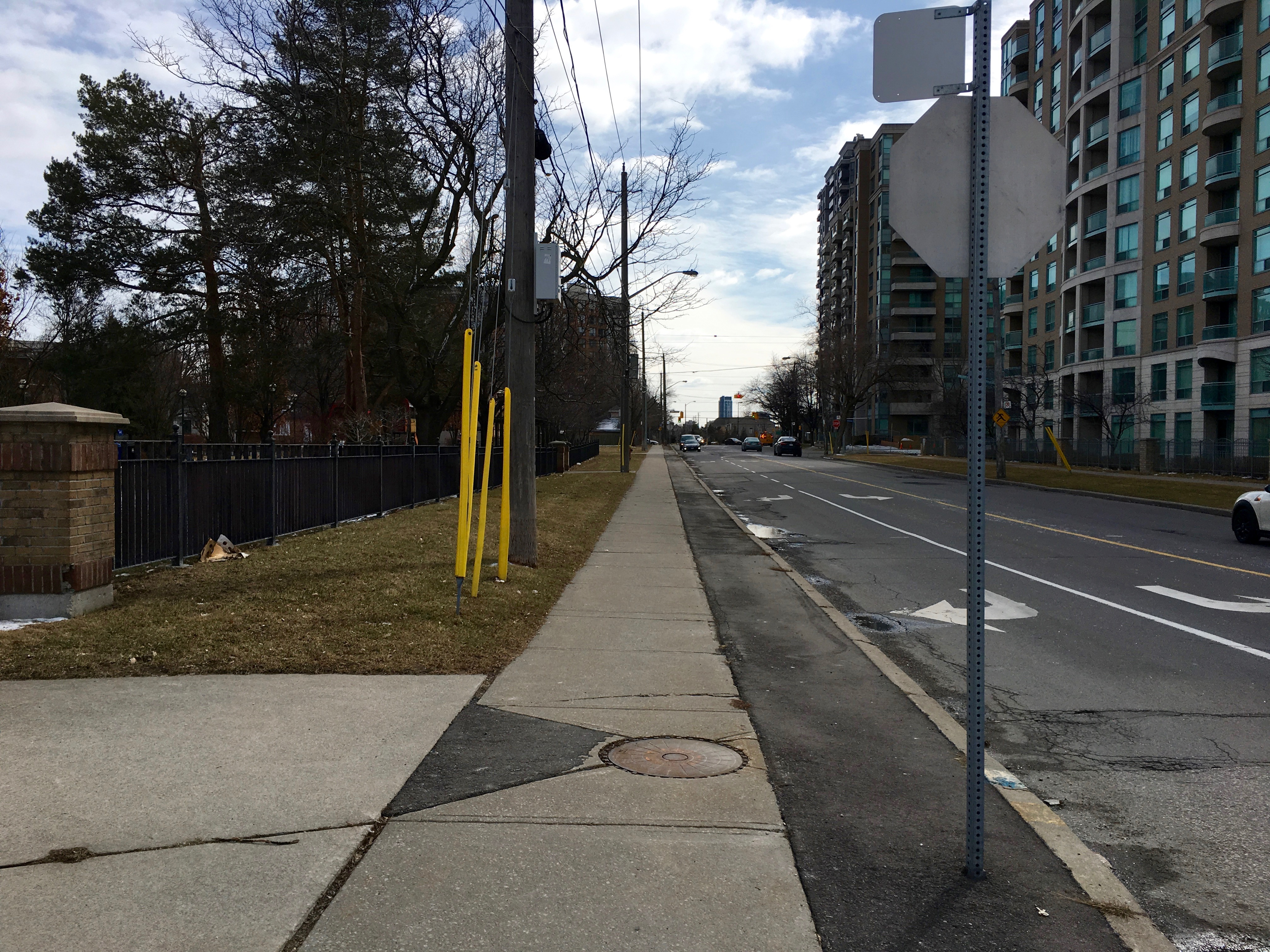 1:21 p.m., March 2, 2018. Facing south on Kenneth Avenue, the street north of Doris Avenue.
