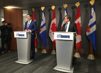 12:03 p.m., March 23, 2018. Leader of the Conservative Party of Canada Andrew Scheer and Mayor John Tory spoke with reporters at Toronto City Hall on Friday, after a closed meeting.