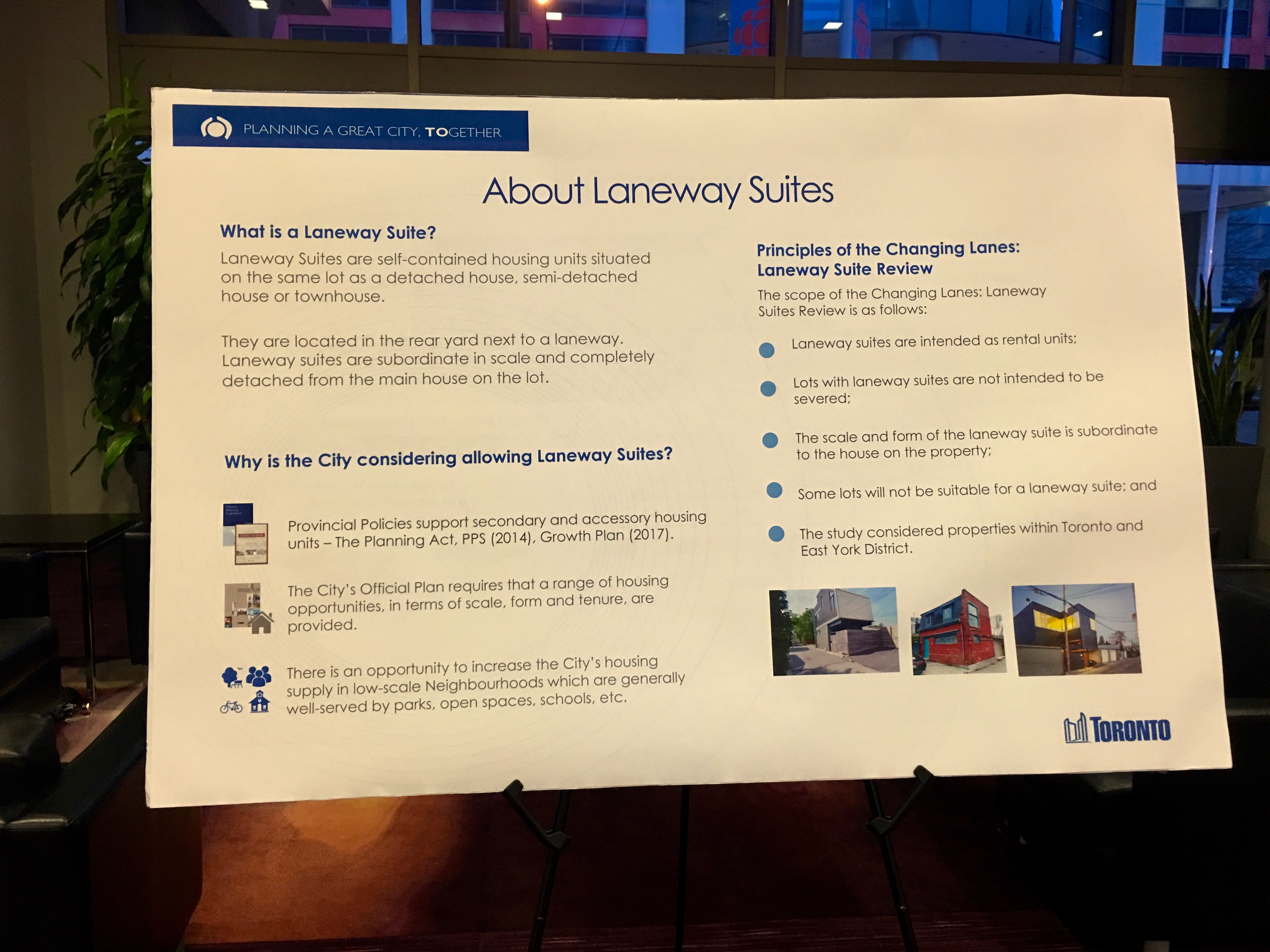 7:21 p.m., March 29, 2018. An information board at Thursday night's City of Toronto consultation meeting on laneway suites. A report on new building laneway building policies is expected before the May Toronto and East York Community Council meeting.