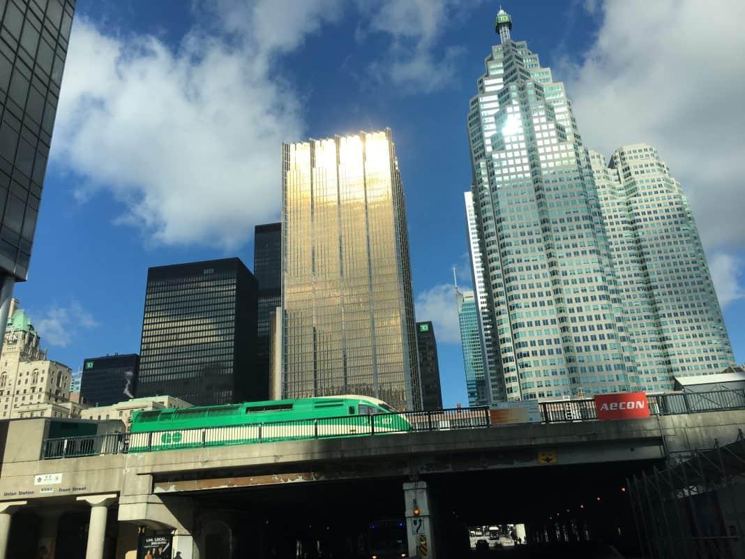 11:08 a.m. February 26, 2018. A train heading east near Toronto's Union Station.