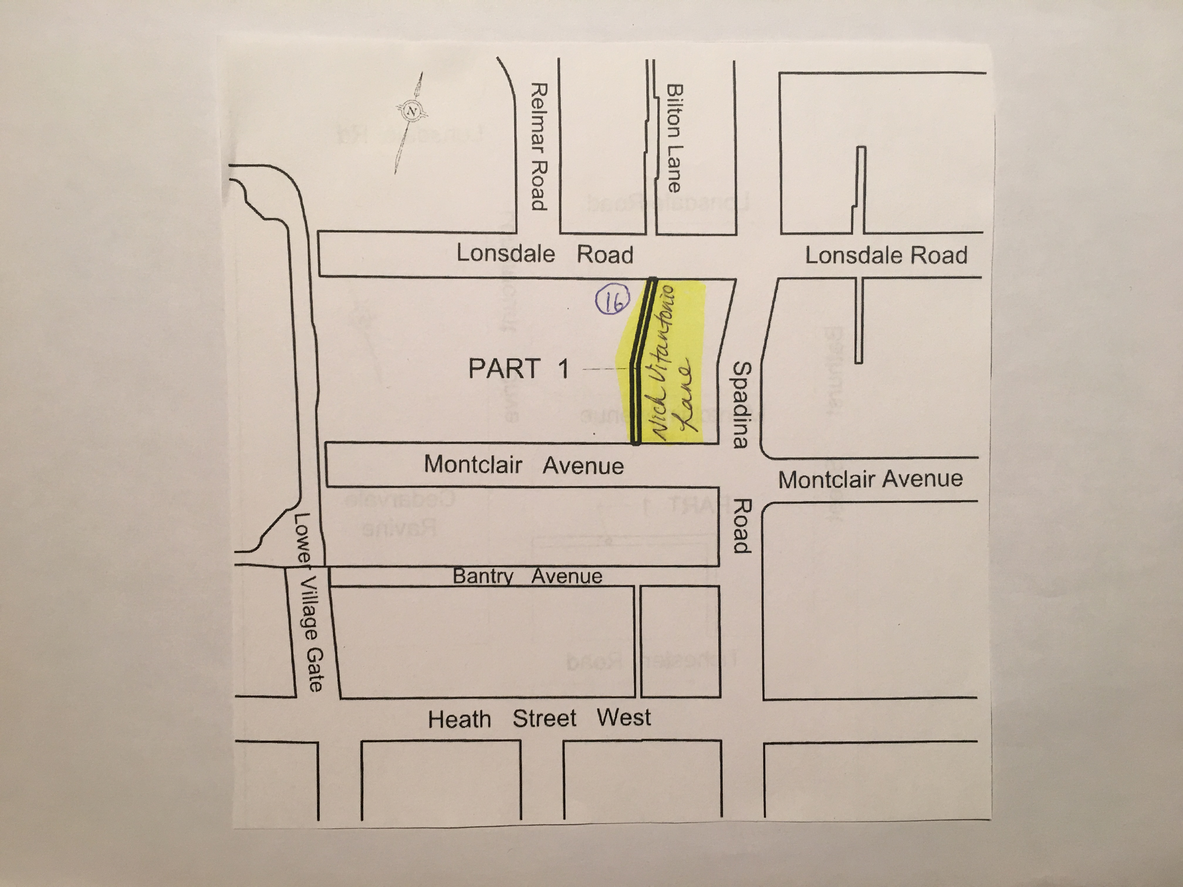 A map showing where one of the newly named lanes is located.