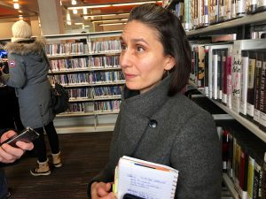 1:24 p.m., April 6, 2018. Aadila Valiallah, coordinator for the York-Eglinton BIA speaks to reporters at the Maria A. Shchuka branch of the Toronto Public Library.