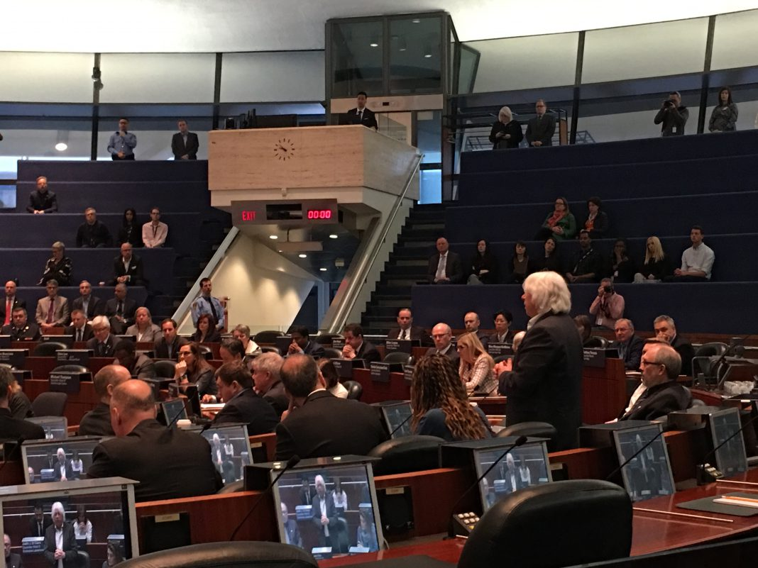 """9:53 a.m, April 24, 2018. Local city Councillor John Filion speaks to city council on Tuesday, the day after the tragic incident that left 10 dead from a van attack in Willowdale. Fillion commended nearby residents who helped in the aftermath of the event. """"People who were watching from their balcony and rushed down to help… and stay with them and comfort them."""""""
