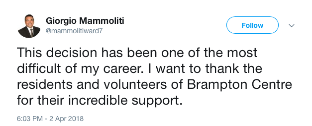 Screenshots form @mammolitiward7 Twitter account, showing tweet announcing Councillor Giorgio Mammoliti is no longer seeking nomination to be the PC candidate for Brampton Centre.