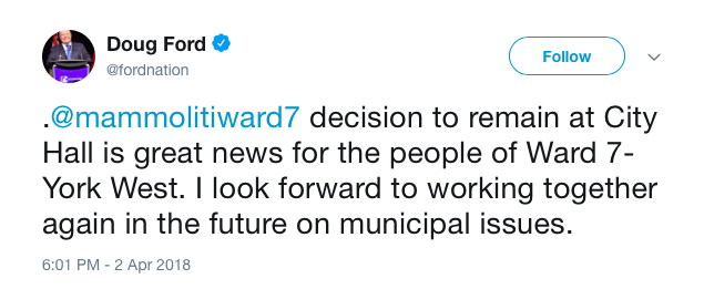 Screenshots from @fordnation Twitter account, showing tweet announcing that Councillor Giorgio Mammoliti is no longer seeking the nomination to be the PC candidate for Brampton Centre