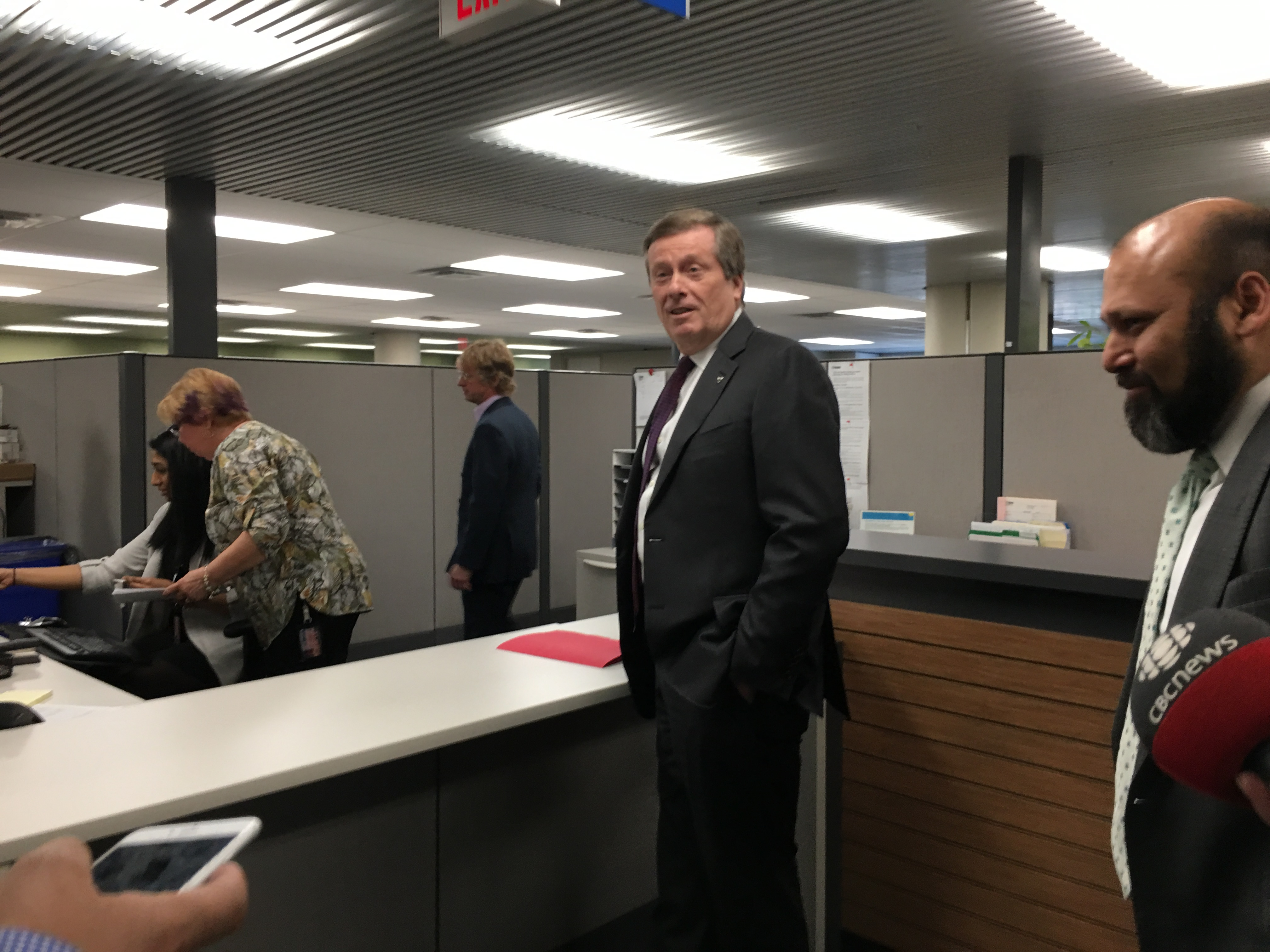 9:44 a.m., Mayor John Tory filing his nomination papers in the election office.