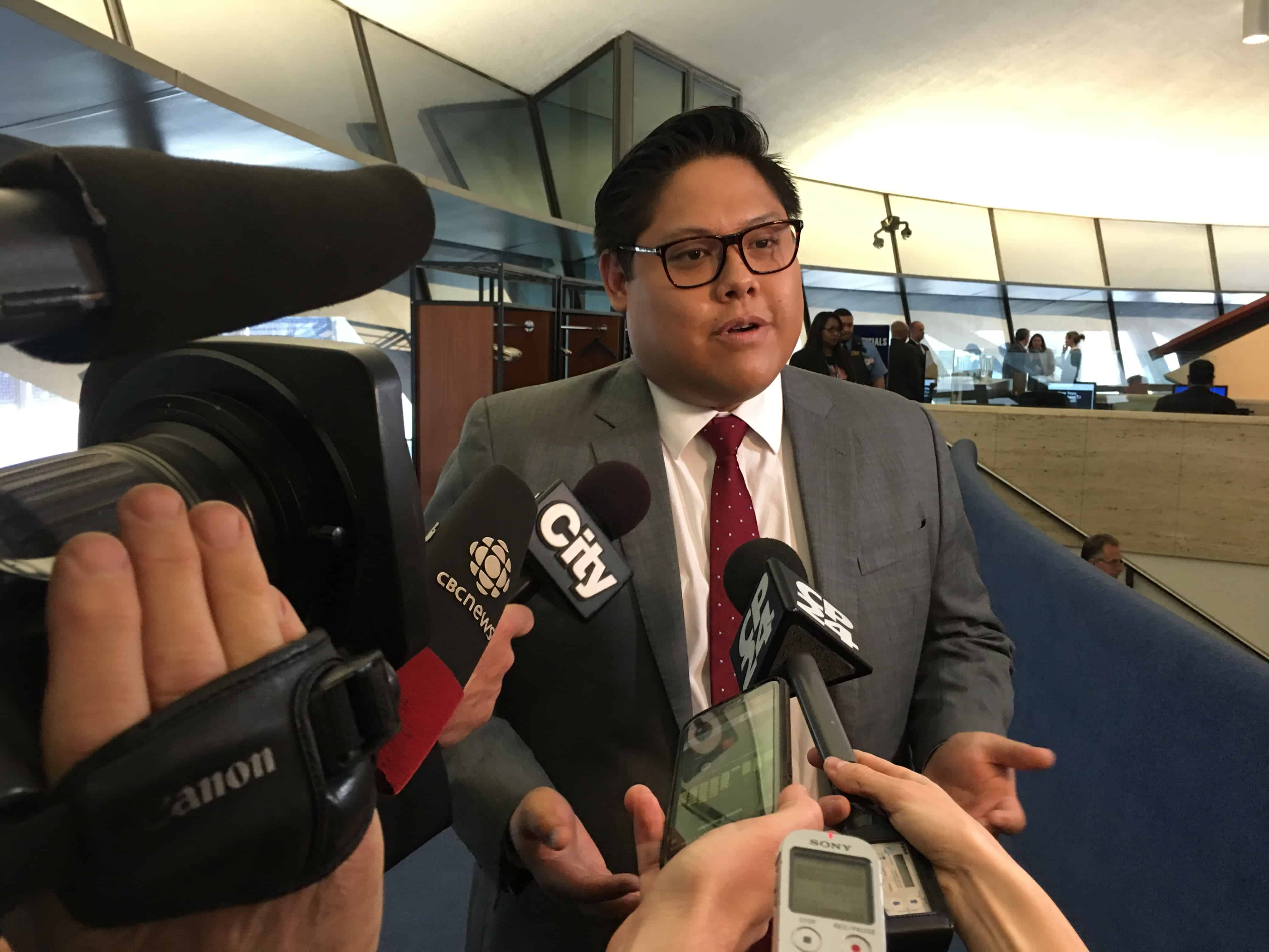 3:39 p.m. May 22, 2019. Newly appointed Jonathan Tsao speaking to the media after he was appointed.