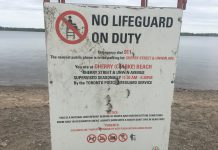 2:16 p.m. June 5, 2018. A lifeguard stand features a sign warning that no lifeguard is on duty at Cherry Beach.