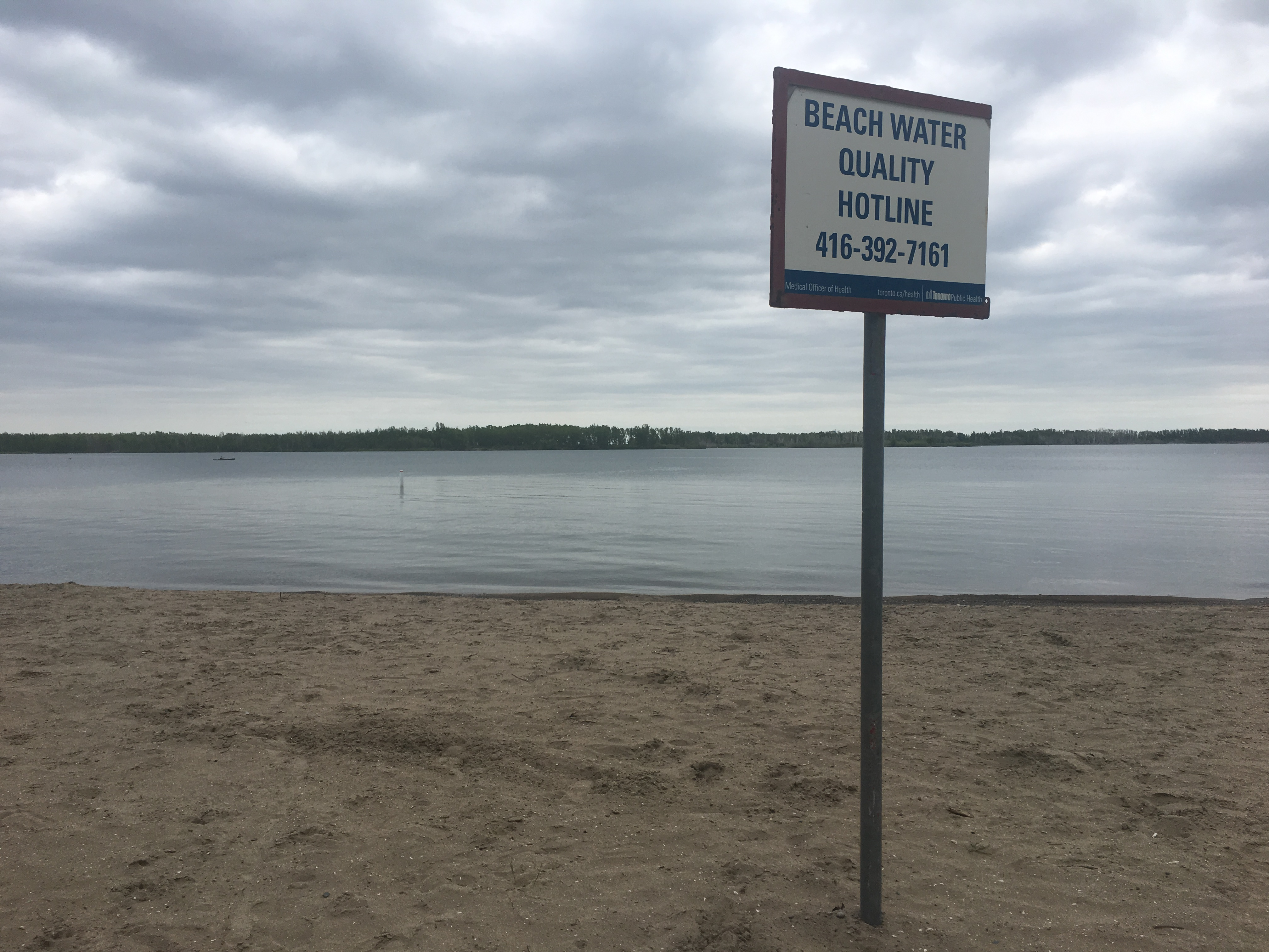 2:42 June 5, 2018. A sign advertises the Beach Water Quality Hotline at Cherry Beach.