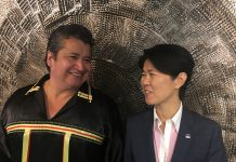 Chief R. Stacey Laforme of the Mississaugas of the New Credit First Nation and Councillor Kristyn Wong-Tam after Expo 2025 Press Conference at Toronto City Hall.