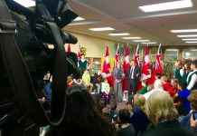Premier Kathleen Wynne & Mayor John Tory spoke at Northlea Public School on Thursday morning about intended legislation for automated speed enforcement (photo-radar)
