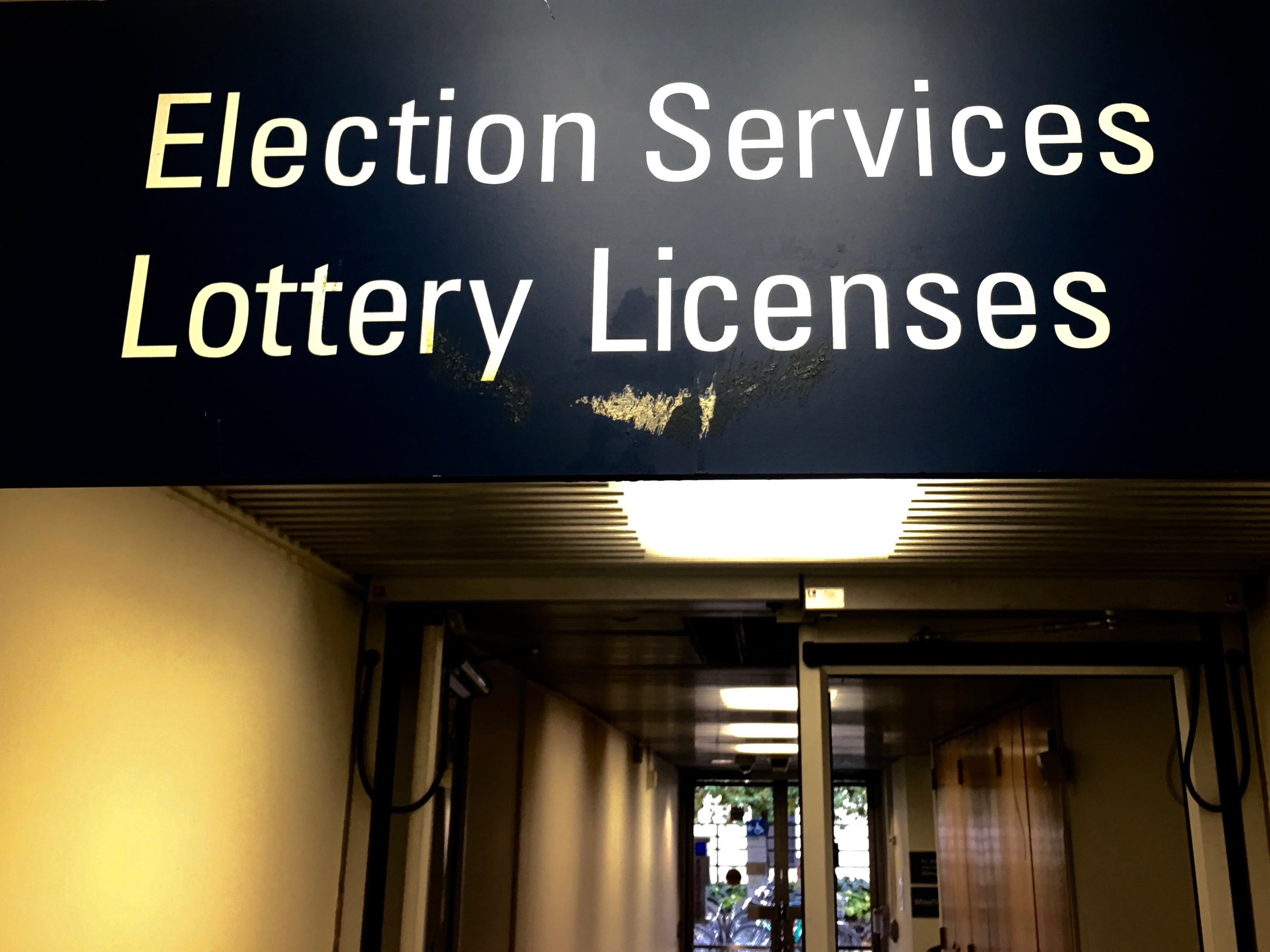 The election services sign outside the elections office at City Hall.