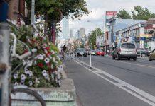 1:58 p.m., July 8, 2017. Summer cycling on the Bloor Street bike lane, between Euclid Avenue and Palmerston Boulevard. (Photo credit: Luke Trohimchuk)