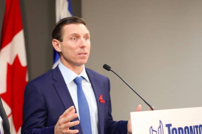 10:51 a.m., Dec 1, 2017. Former leader of the Progressive Conservative Party of Ontario Patrick Brown speaking with reporters in December at City Hall. (Arianne Robinson/Signal Toronto)
