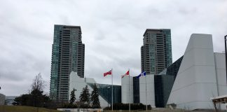 11:29 a.m., March 6, 2018. The Scarborough Civic Centre is located south of the proposed final stop of the Scarborough subway extension at the Scarborough Town Centre, near Hwy 401 and McCowan Road.