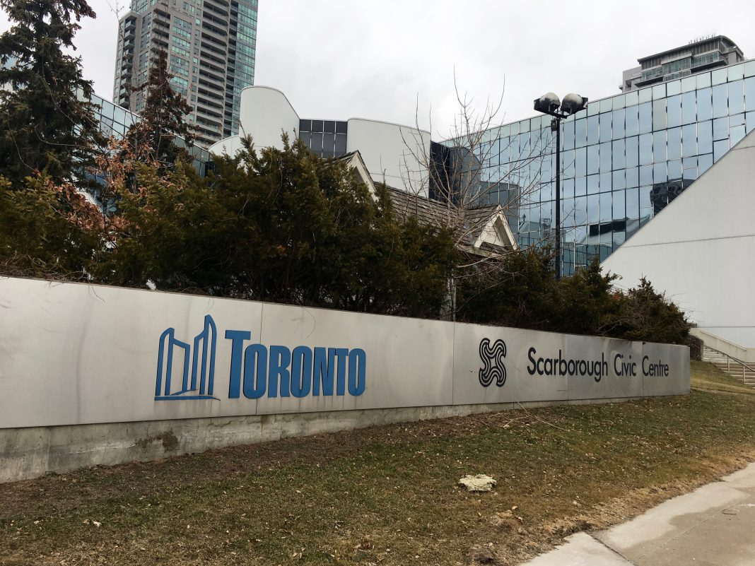 11:29 a.m., March 6, 2018. The front of the Scarborough Civic Centre, where the next Executive Committee will be held on March 19.