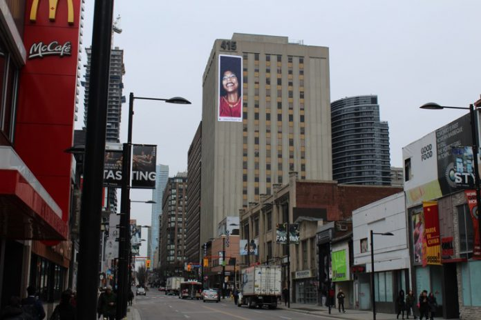(An image of the proposed wall sign for 415 Yonge St. presented to the sign variance committee on Tuesday. The application was not granted. Image courtesy of Kahara Media.)