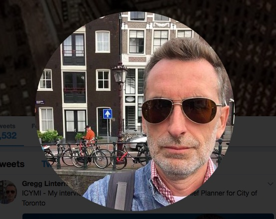 Screen capture of the Twitter photo for Gregg Lintern, the city's newly appointed chief planner (used with permission).