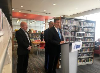 11:07 a.m., April 6, 2018. Mayor John Tory announces new initiatives to help local businesses on Eglinton Avenue West on Friday. Standing with him: Jamie Robinson, director of community relations and communications for rapid transit projects at Metrolinx, and TTC Chair and local Councillor Josh Colle.