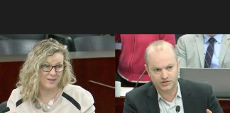 Screen-captured images of Councillors Jaye Robinson and Mike Layton during a discussion about a $55 million private-public partnerships, at the Parks and Environment Committee.