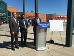 10:33 a.m., May 7, 2018. At the Malvern Town Centre on Monday morning, Mayor John Tory (at podium), Councillor Neethan Shan (centre), and Chair of the TTC Josh Colle (left) unveil a proposed plan to expand Eglinton LRT East to include another stop at Malvern Town Centre.