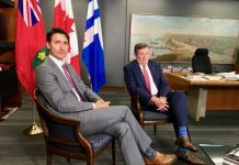 10:14 a.m. July 6, 2018. In the mayor's office: Moments after Prime Minister Justin Trudeau and Mayor John Tory made comments to reporters but did not make themselves available for questions. Read their exchange about gun violence in Toronto, asylum seekers and the pattern on their socks below in Hall Monitor.
