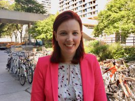 10:28 a.m. July 10, 2018. Jennifer Hollett outside Toronto City Hall after registering her nomination to be councillor of the new waterfront Ward 21.