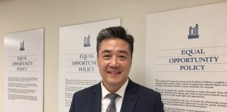 10:40 a.m. July 23, 2018. Han Dong at Toronto City Hall after registering his nomination to run for councillor.