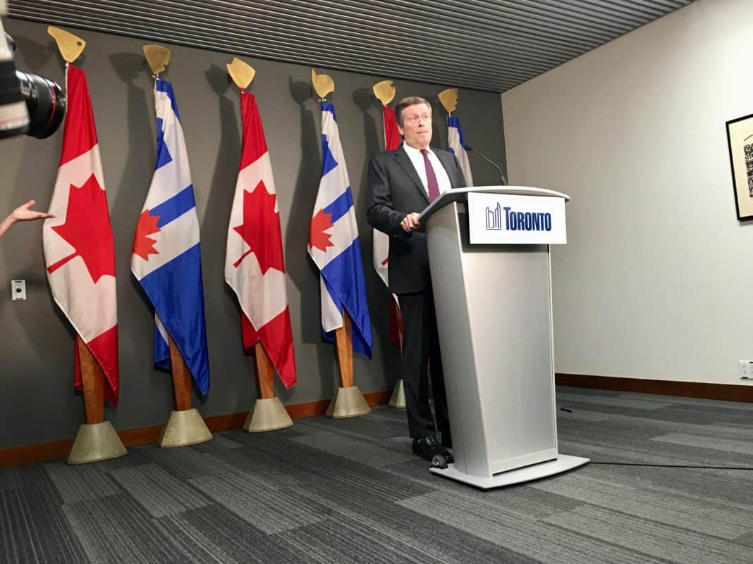 8:28 a.m. July 27, 2018. Mayor Tory addresses media in advance of Premier Doug Ford's announcement to change the number of wards and politicians at Toronto council.