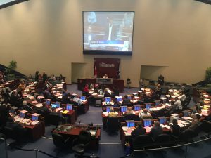 4:13 p.m., July 30, 2018. Toronto City Council debates its legal position in response to cuts to wards and politicians, tabled under legislation introduced by Premier Doug Ford, and ruled unlawful Sept. 10, 2018.