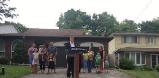 9:55 a.m. August, 1, 2018. Mayor John Tory making his first campaign announcement outside a home in Scarborough on Wednesday morning.